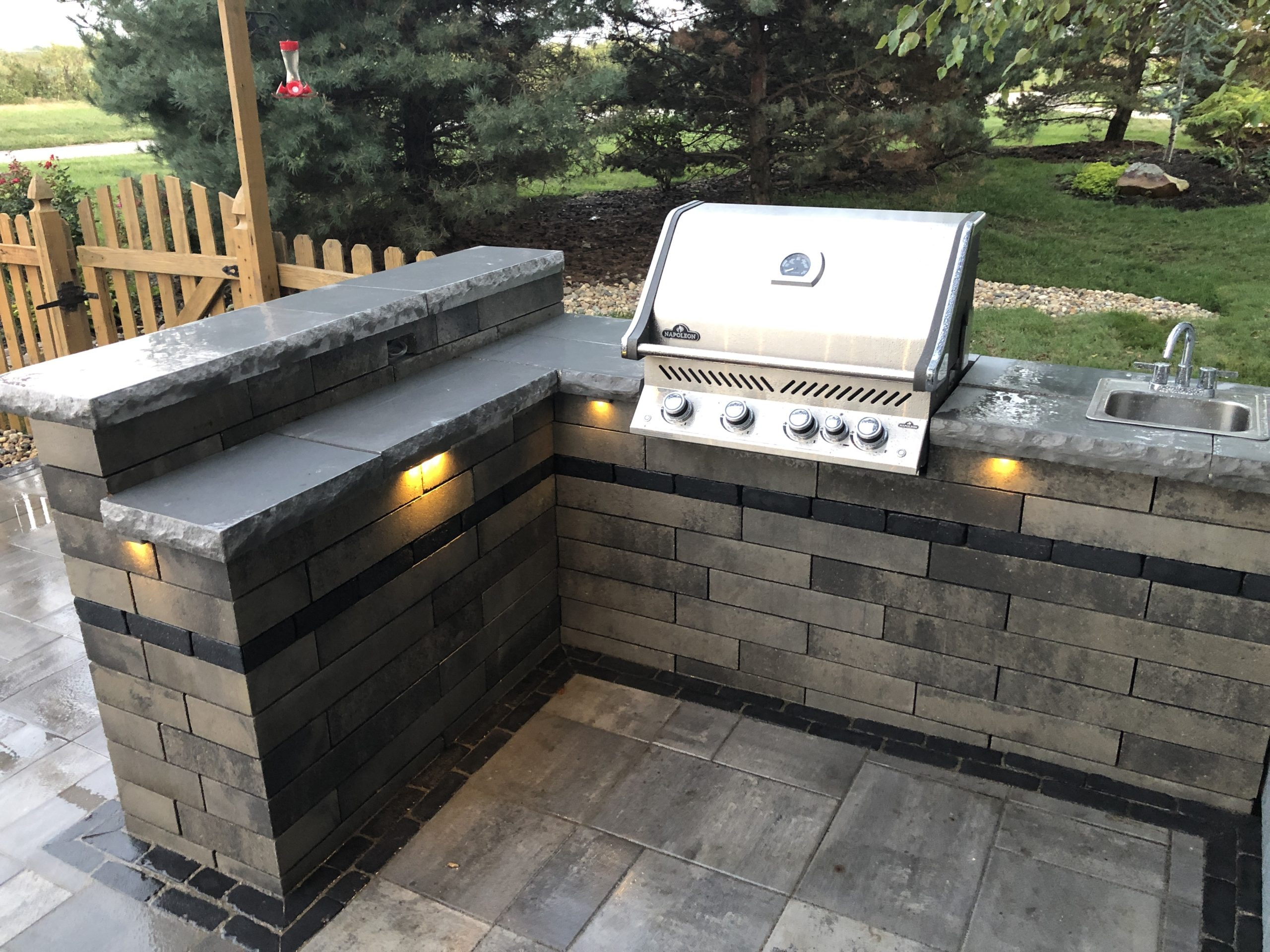 Outdoor living space with gas bbq & sink