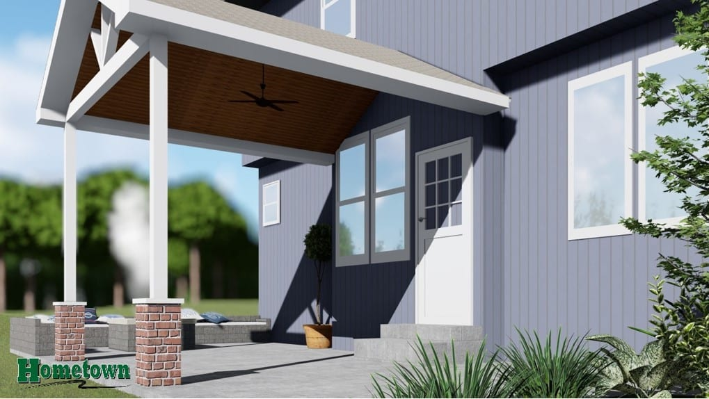 Computer rendering of a covered porch